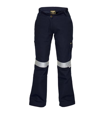 ML709 - Ladies Cotton Drill Cargo Pants with 3M tape